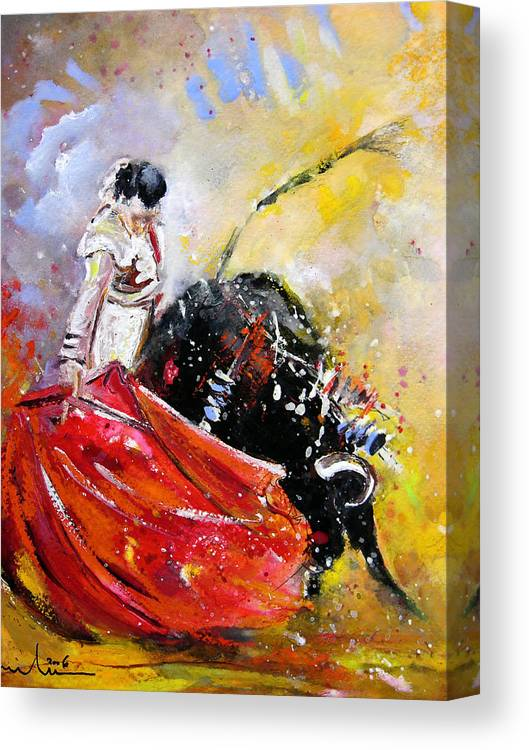 Bullfight Canvas Print featuring the painting Softly And Gently by Miki De Goodaboom