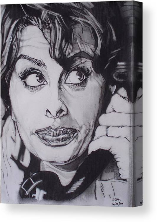 Charcoal;icon;actress;diva;italian;cat Eyes;beautiful;cute;adorable Canvas Print featuring the drawing Sophia Loren Telephones by Sean Connolly