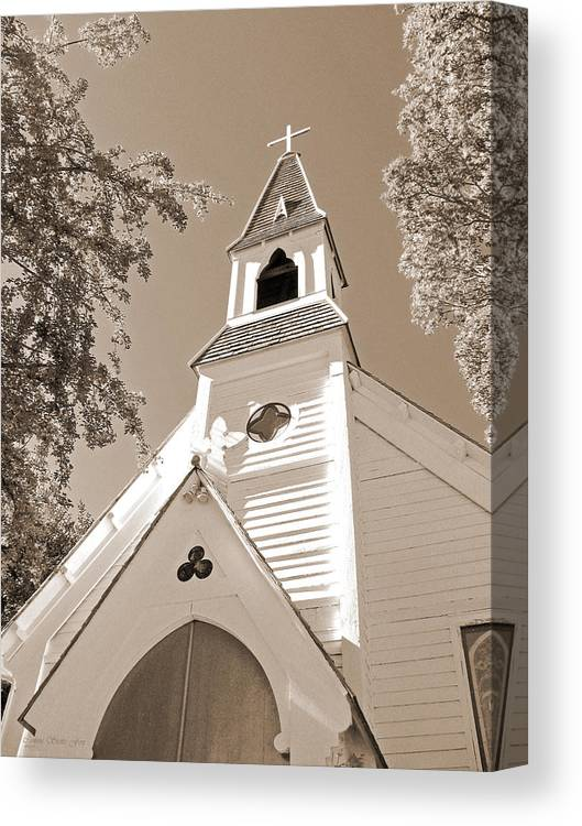 Gothic_revival Canvas Print featuring the photograph St. Paul's Church Port Townsend In Sepia by Connie Fox