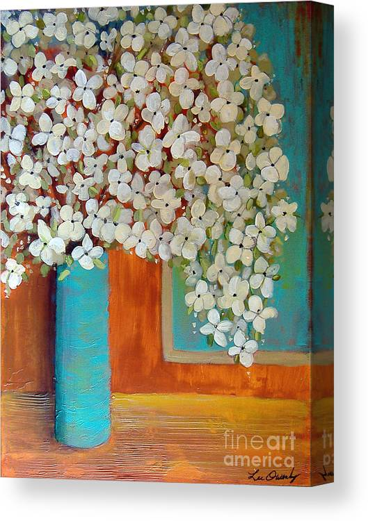 Flowers Canvas Print featuring the painting Still Life With White Flowers by Lee Owenby