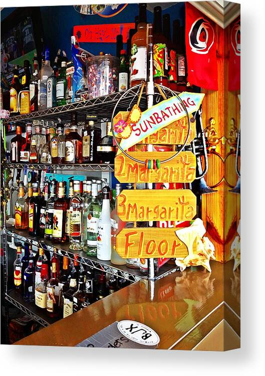 Alcohol Canvas Print featuring the photograph Stocked Bar At Jax by Joan Meyland