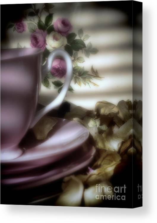 Tea Canvas Print featuring the photograph Tea Cups And Roses by Karen Lewis