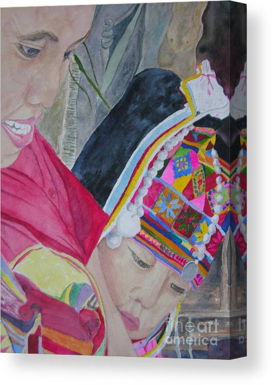 Baby Canvas Print featuring the painting Thai Hill Tribe by Peggy Dickerson