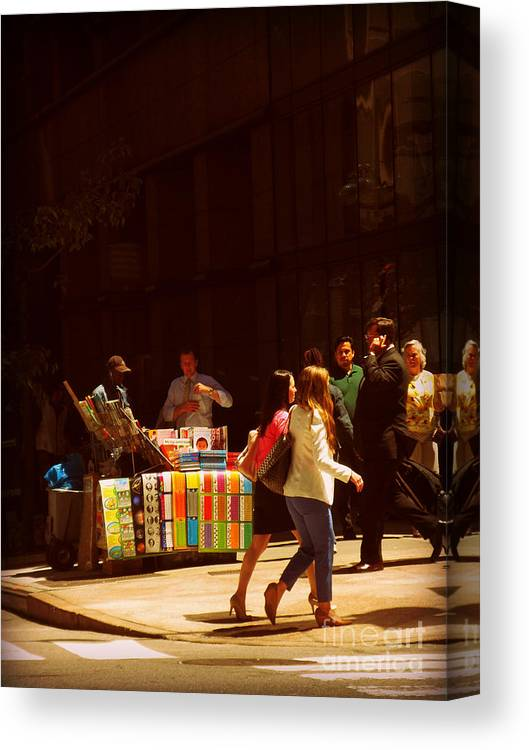 Streetscape Canvas Print featuring the photograph The Bookseller - New York City Street Scene - Street Vendor by Miriam Danar
