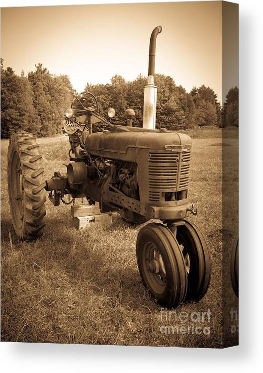 Sepia Canvas Print featuring the photograph The Old Tractor Sepia by Edward Fielding