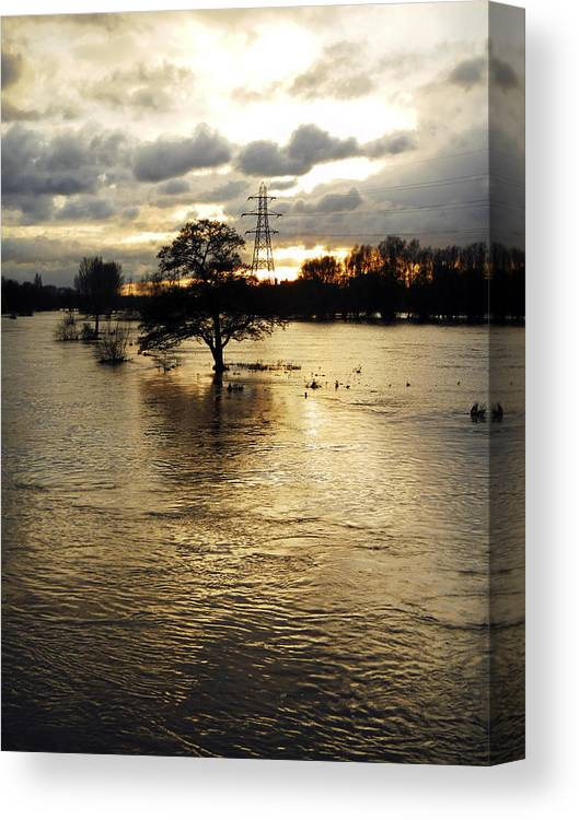 Burton On Trent Canvas Print featuring the photograph The Trent Washlands In Full Flood by Rod Johnson