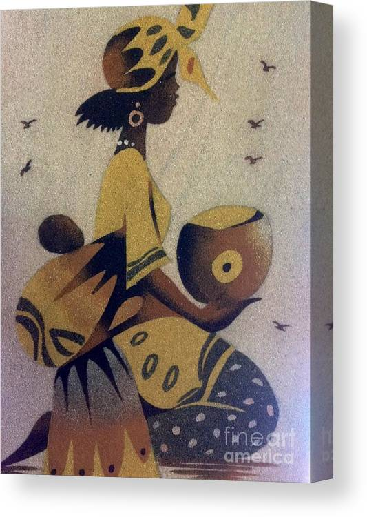 Oasis Gallery Canvas Print featuring the photograph Une Bonne Mere - A Good Mother by Fania Simon