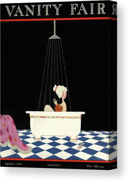 Illustration Canvas Print featuring the photograph Vanity Fair Cover Featuring A Woman In A Bathtub by A. H. Fish