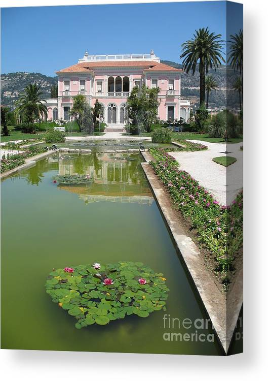 Villa Canvas Print featuring the photograph Villa Ephrussi De Rothschild With Reflection by Christiane Schulze Art And Photography