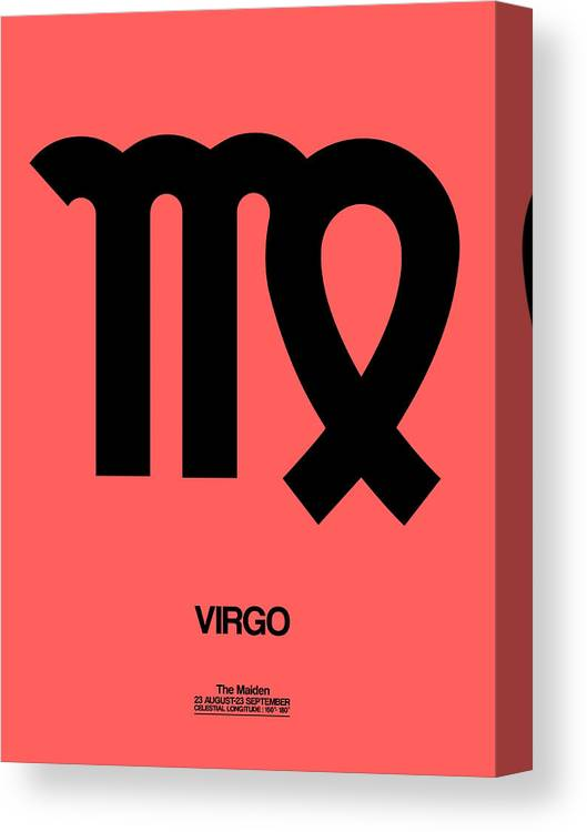 Virgo Canvas Print featuring the digital art Virgo Zodiac Sign Black by Naxart Studio