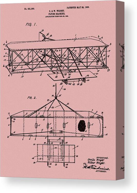 The Wright Brothers Airplane Patent Canvas Print featuring the mixed media Wright Brothers Patent Red by Dan Sproul