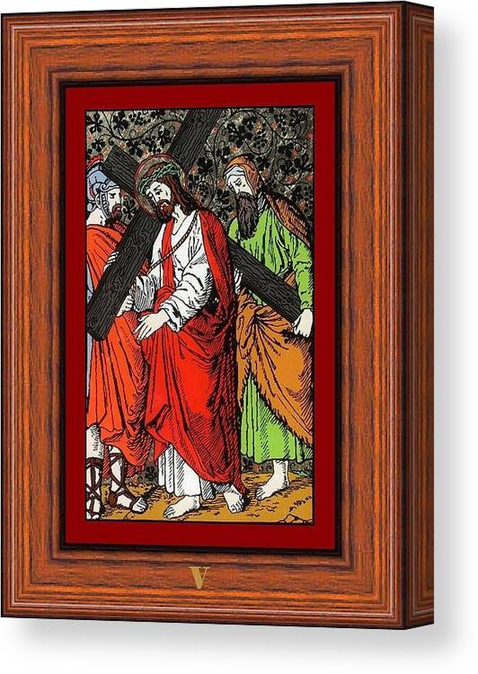 V - Simeon Cireneul �l Ajut� Pe Isus S� Duc� Crucea (simon Helps Jesus To Carry His Cross) - Icoana Pictata In Ulei Cu Foita De Aur Pe Sticla (icon Painted In Oil With Gold Leaf On Glass ) Canvas Print featuring the painting Drumul Crucii - Stations Of The Cross by Buclea Cristian Petru