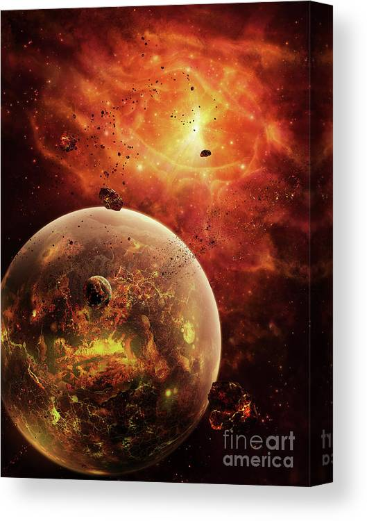 Artwork Canvas Print featuring the digital art An Eye-shaped Nebula And Ring by Brian Christensen