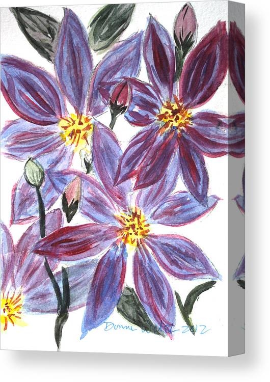 Clematis Canvas Print featuring the painting Clematis by Donna Walsh