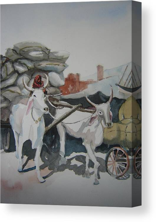 Oxen Canvas Print featuring the painting Delhi Driver by Holly Stone