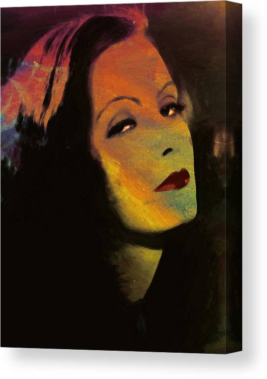 f47918493aa Greta Garbo Actress Famous Beauty Face Portrait Expressionism Impressionism  Canvas Print featuring the painting Greta Garbo