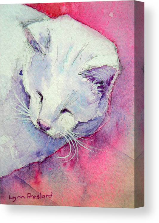 Cat Canvas Print featuring the painting In The Pink by Lynn Presland