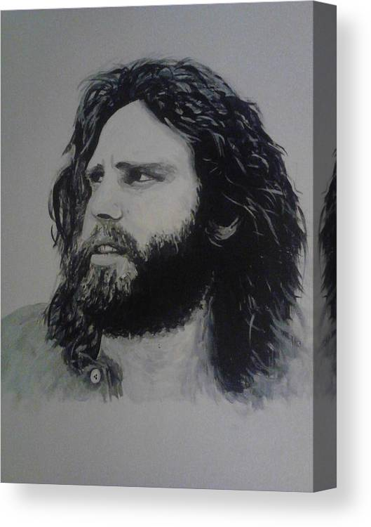 Jim Morrison Acrylia Painting Portrait Musician Black And White Canvas Print featuring the painting Jim Morrison Last Year Of Life by William McCann