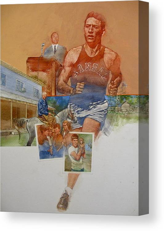 Acrylic Painting Canvas Print featuring the painting Kansas Track Runner by Cliff Spohn