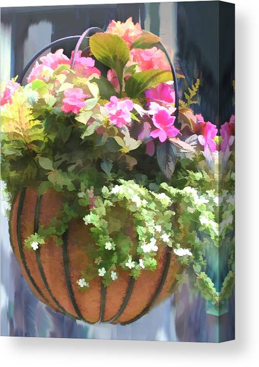 Mixed Begonias In Wire Hanging Basket Canvas Print Canvas Art By