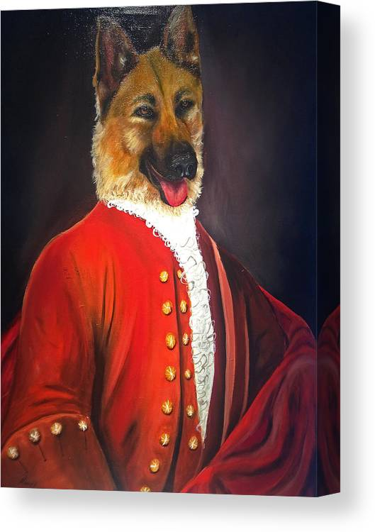 German Shepard In Costume Canvas Print featuring the painting Rex by Roger Leighton