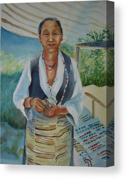 Tibetan Woman Canvas Print featuring the painting Street Sales by Holly Stone