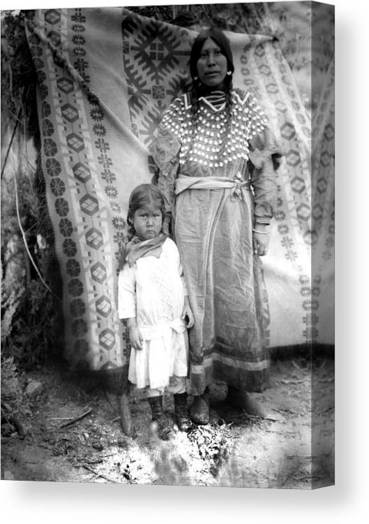 American Canvas Print featuring the photograph American Indian Woman Female Daughter 1890s by Mark Goebel