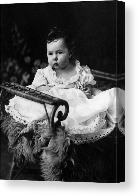 Baby Canvas Print featuring the photograph Baby In Chair 1910s Black White Archive Boy Kids by Mark Goebel