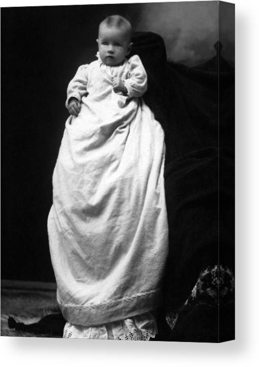 Baby Canvas Print featuring the photograph Baby In Long Dress 1903 Black White 1900s by Mark Goebel