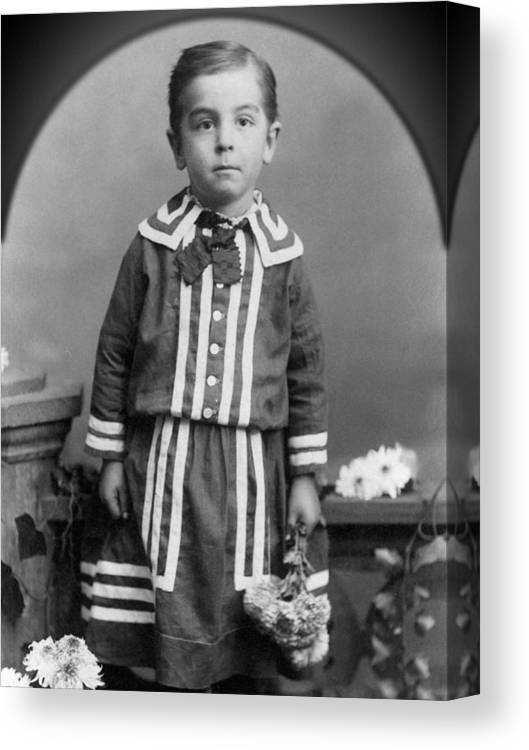 Child Canvas Print featuring the photograph Child Kid Flowers 1890s Black White Archive Boot by Mark Goebel