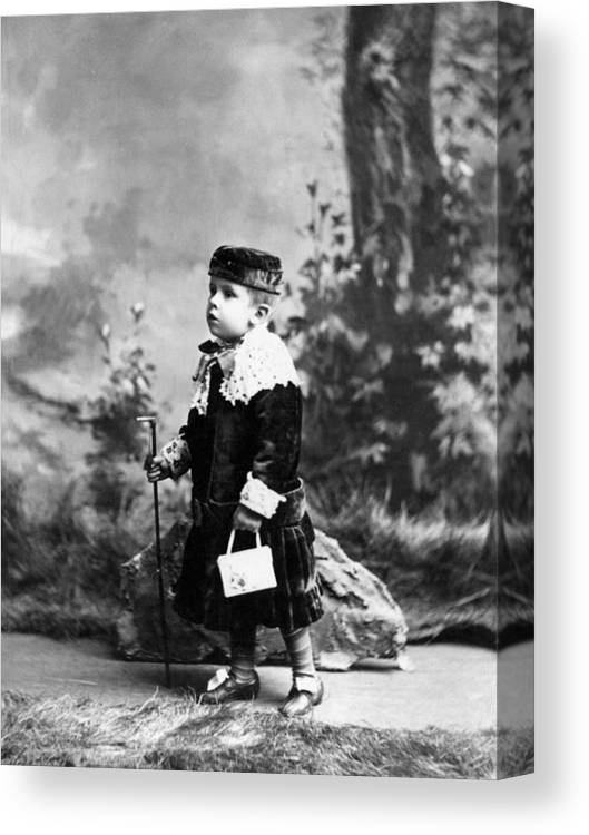 Child Canvas Print featuring the photograph Child Kid In Fancy Velvet Outfit 1890s Black by Mark Goebel
