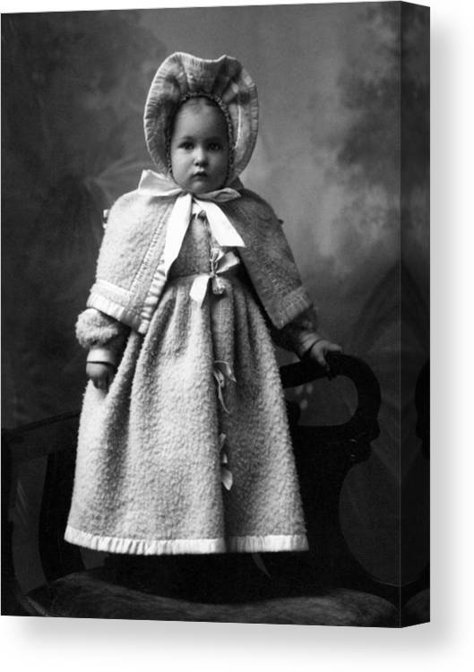 Girl Canvas Print featuring the photograph Girl Posing In Winter Coat 1903 Black White by Mark Goebel