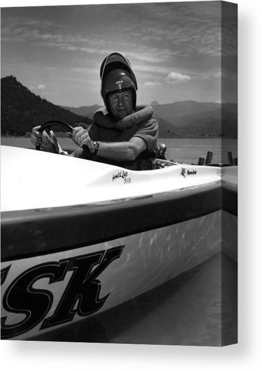Man Canvas Print featuring the photograph Man Male In Racing Boat June 12 1963 Black White by Mark Goebel