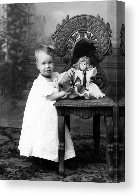 Portrait Canvas Print featuring the photograph Portrait Headshot Girl Doll December 1903 Black by Mark Goebel