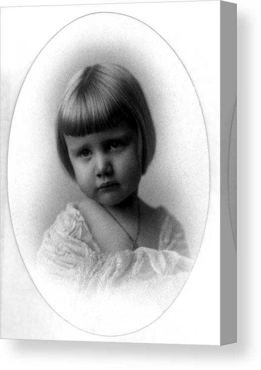 Portrait Canvas Print featuring the photograph Portrait Headshot Toddler 1920s Black White Kids by Mark Goebel