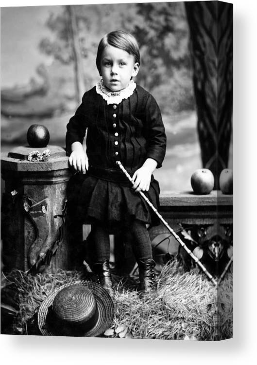 Portrait Canvas Print featuring the photograph Portrait Headshot Toddler Walking Stick 1880s by Mark Goebel