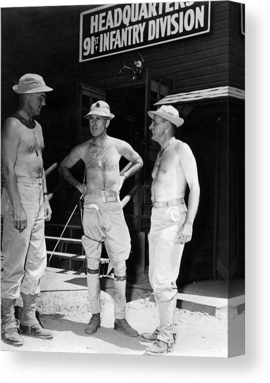 Soldiers Canvas Print featuring the photograph Soldiers Without Shirts 91st Infantry Division by Mark Goebel