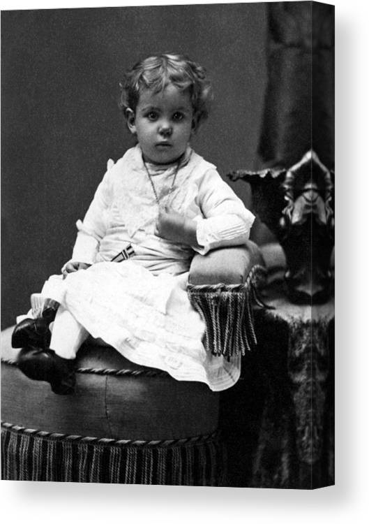 Toddler Canvas Print featuring the photograph Toddler Sitting In Chair 1890s Black White Boy by Mark Goebel