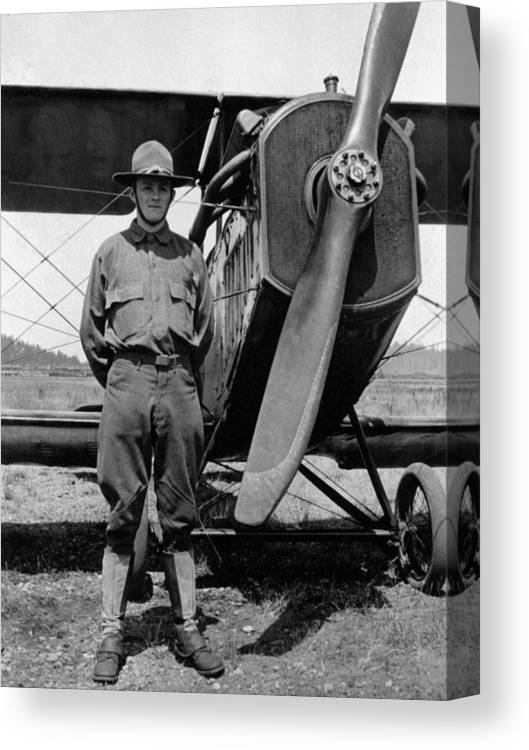 Soldier Canvas Print featuring the photograph W Soldier Standing Biplane July 1923 Black White by Mark Goebel