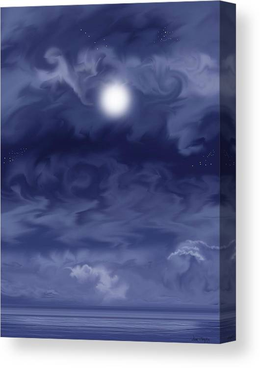 Moon Canvas Print featuring the painting Cobalt by Anne Norskog