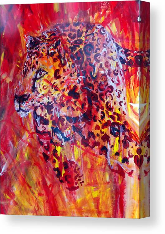 Panther Canvas Print featuring the painting Panther by Anne Weirich