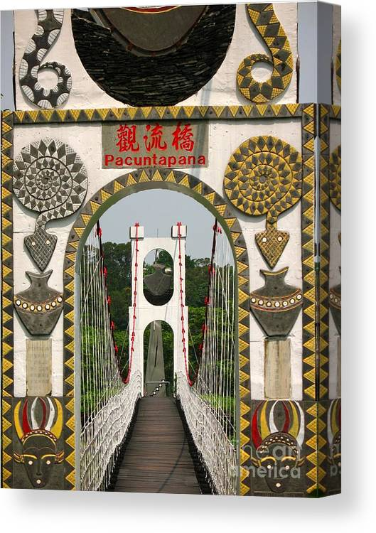 Suspension-bridge Canvas Print featuring the photograph Suspension Bridge With Tribal Decorations by Yali Shi