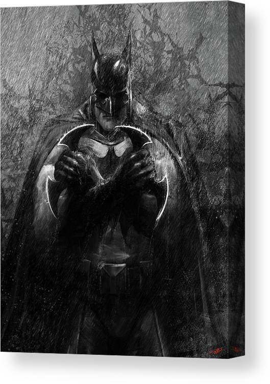 Dark Knight Canvas Print featuring the digital art The Detective by Steve Goad