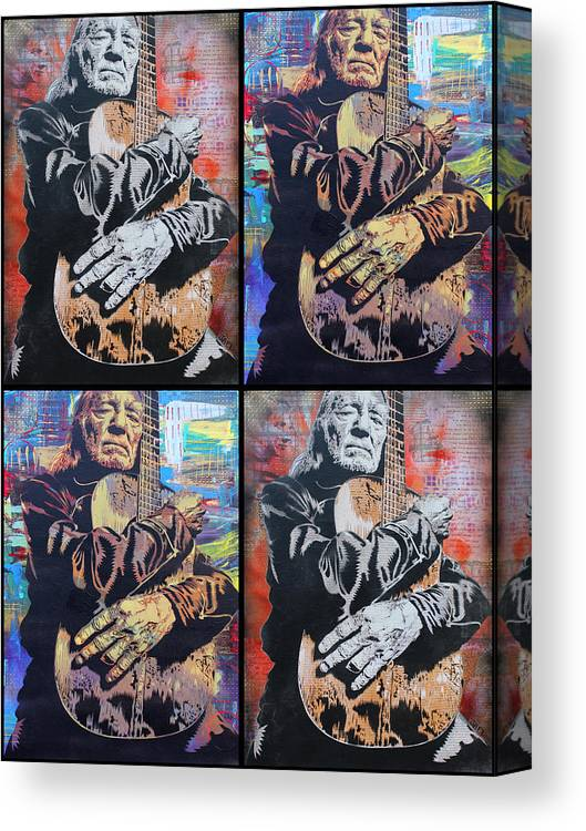 c645fabc002 Guitar Canvas Print featuring the painting Willie Nelson by Josh Cardinali
