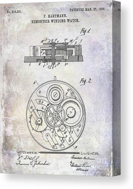 Watch Canvas Print featuring the photograph 1908 Pocket Watch Patent by Jon Neidert