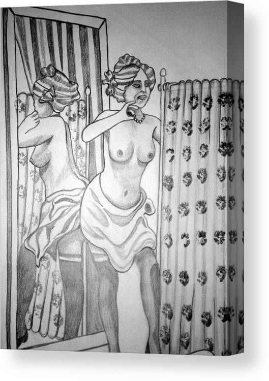 Deco Canvas Print featuring the drawing 1920s Women Series 6 by Tammera Malicki-Wong