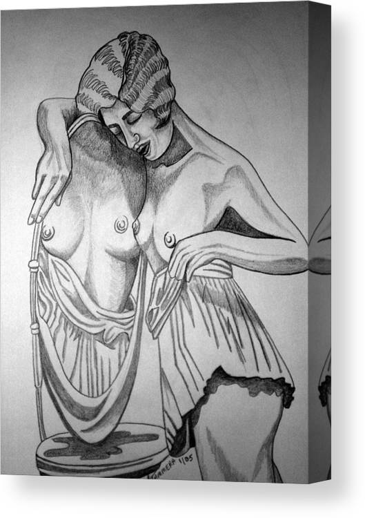 Deco Canvas Print featuring the drawing 1920s Women Series 8 by Tammera Malicki-Wong