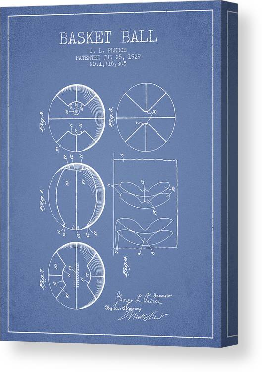Basketball Canvas Print featuring the digital art 1929 Basket Ball Patent - Light Blue by Aged Pixel