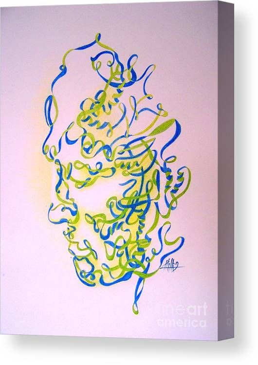 Head Canvas Print featuring the drawing No Title by Marek Halko