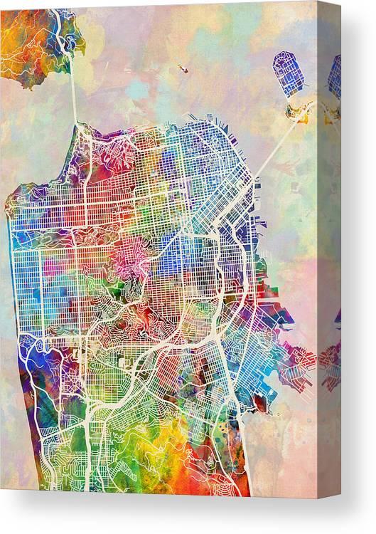 San Francisco City Street Map Canvas Print / Canvas Art by Michael ...